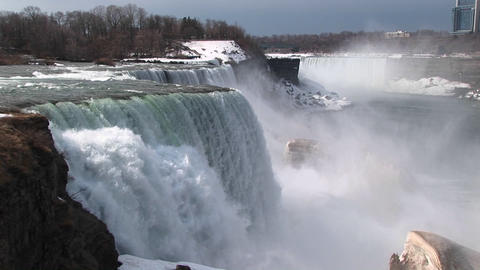 A look from the top of Niagara Falls to the snow and mist in the distance Footage