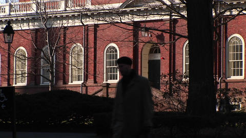 The camera focuses on a Harvard University building... Stock Video Footage