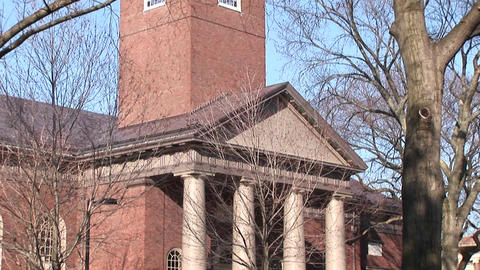 The camera pans up this classic architectural style church on Harvard's campus Footage