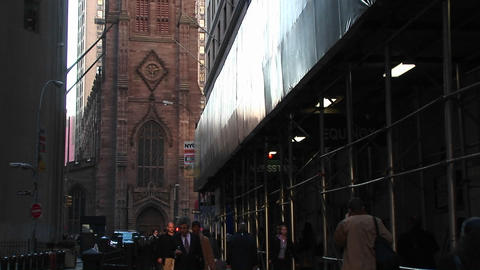 Pan up on an old Catholic Church in downtown New York Stock Video Footage