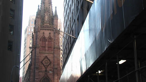 Pan up on an old Catholic Church in downtown New York Footage