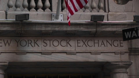 Pan Across The New York Stock Exchange Building stock footage