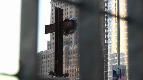 The free-form cross still stands at Ground Zero, New York... Stock Video Footage