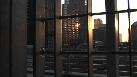 Sunlight reflects on the windows of high rise office... Stock Video Footage