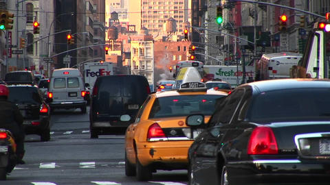A New York City street scene with heavy traffic,... Stock Video Footage