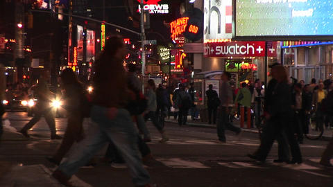 A colorful night scene in downtown New York Footage