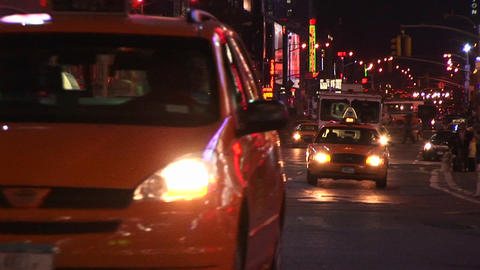 The on-coming traffic never seems to stop in New York City Footage