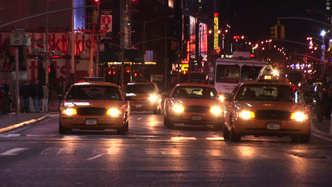 The on-coming traffic never seems to stop in New York City Stock Video Footage