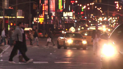 Traffic and pedestrians each take their turn Stock Video Footage