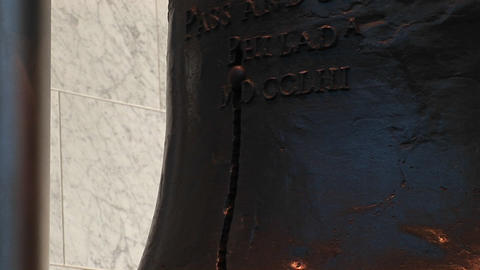 A close-up look at the Liberty Bell and the founders' who... Stock Video Footage