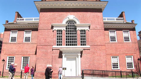 The camera pans up the historic Independence Hall in... Stock Video Footage