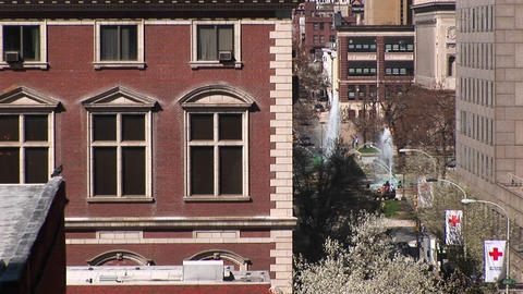Zoom in to a window in a brownstone apartment building... Stock Video Footage