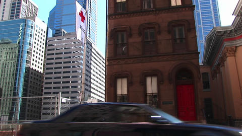 Skyscraper construction encroaches on a typical New York... Stock Video Footage