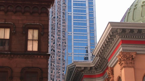 The camera captures three distinct types of urban architecture in Philadelphia Footage