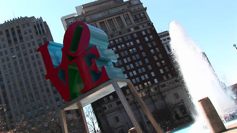 "The Love"" sculpture is prominent in this shot of Center... Stock Video Footage"