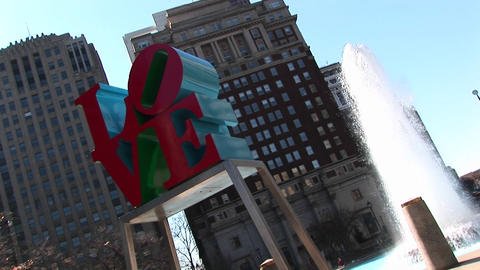 "The Love"" sculpture is prominent in this shot of Center City Philadelphia Footage"