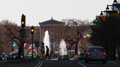 Philadelphia's Benjamin Franklin Parkway leading up to... Stock Video Footage