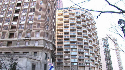 Pan up a luxury apartment complex Stock Video Footage