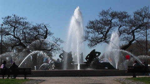 Medium shot of the memorial fountain in Philadelphia Footage