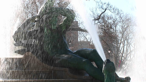 Close up of a water fountain in downtown Philadelphia Footage