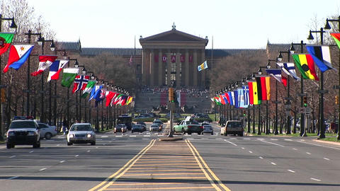 The flag-lined Benjamin Franklin Parkway leads up to the... Stock Video Footage
