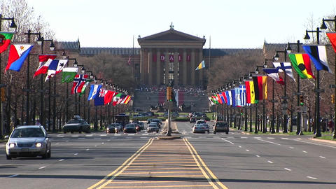 The flag-lined Benjamin Franklin Parkway leads up to the famous steps of the Philadelphia Museum of Footage