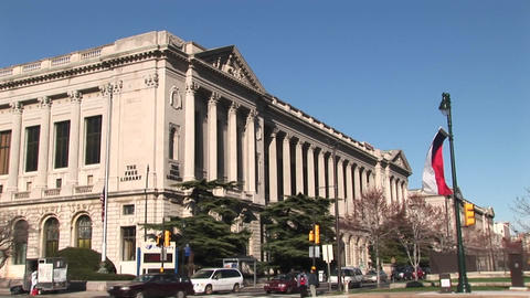 Medium shot of the Free Library building in Philadelphia Footage