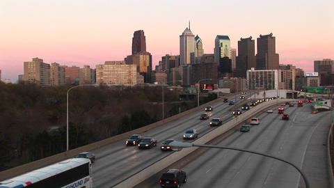 An expressway built over the Chicago River carries traffic in and out of center-city Chicago Footage
