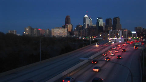 The camera looks down on traffic entering and leaving... Stock Video Footage