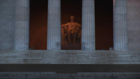 A close-up and long-shot of the Lincoln Memorial in Washington, DC Footage