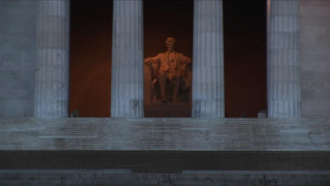 A close-up and long-shot of the Lincoln Memorial in... Stock Video Footage