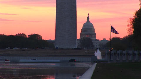 A dramatic golden-hour view of Washington, DC with three... Stock Video Footage