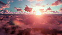 Military Helicopter above clouds at sunset Animation