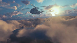 Military Helicopter surveilling above clouds at sunset Animation