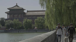 Beijing in the summer. China. People near the Forbidden City Live Action