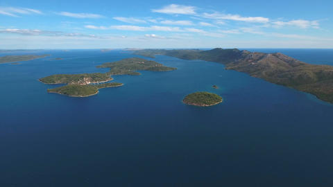 Aerial - Stunning panoramic view of Dugi otok toward southern part of the island Live Action