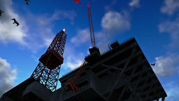 Oil Rig against blue sky, time lapse night to day Animation
