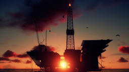 Oil Rig in ocean, close up, beautiful time lapse sunrise Animation
