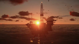 Oil Rig in ocean, beautiful time lapse sunset Animation