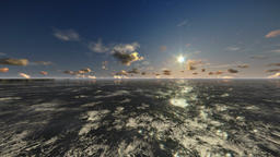 Oil Rig, flight across ocean, time lapse night to day Animation