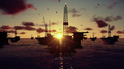 Oil rigs in ocean, time lapse sunset Animation
