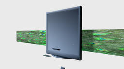 Old TV Crystalize into a New TV against white, Alpha Animation