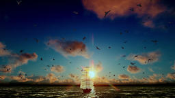Old pirate ship sailing, beautiful sunset with seagulls flying, tilt, sound incl Animation