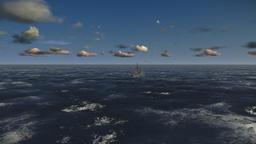 Oil Rig, flight across ocean Animation