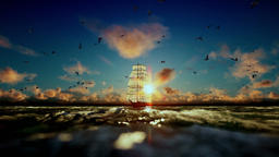Old pirate ship sailing, beautiful sunset with seagulls flying, sound included Animation