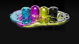 Paint CMYK splashing on black reflective floor Animation