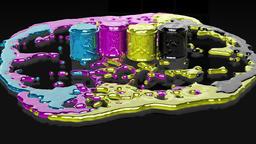 Paint CMYK splashing on black reflective floor Stock Video Footage