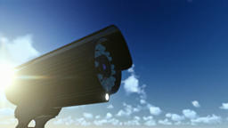 Outdoor Surveillance Camera, timelapse clouds, sun shinning Animation
