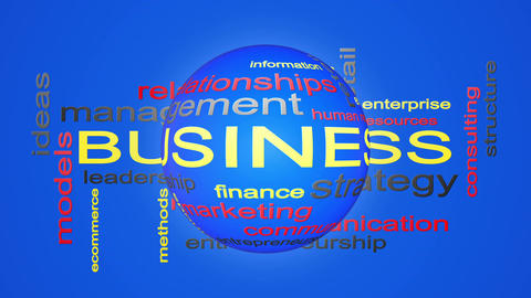 Business Strategy Management Word Cloud Text Animation CG動画素材
