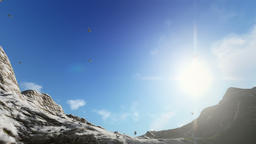 Pigeons flying above snowy mountains Animation